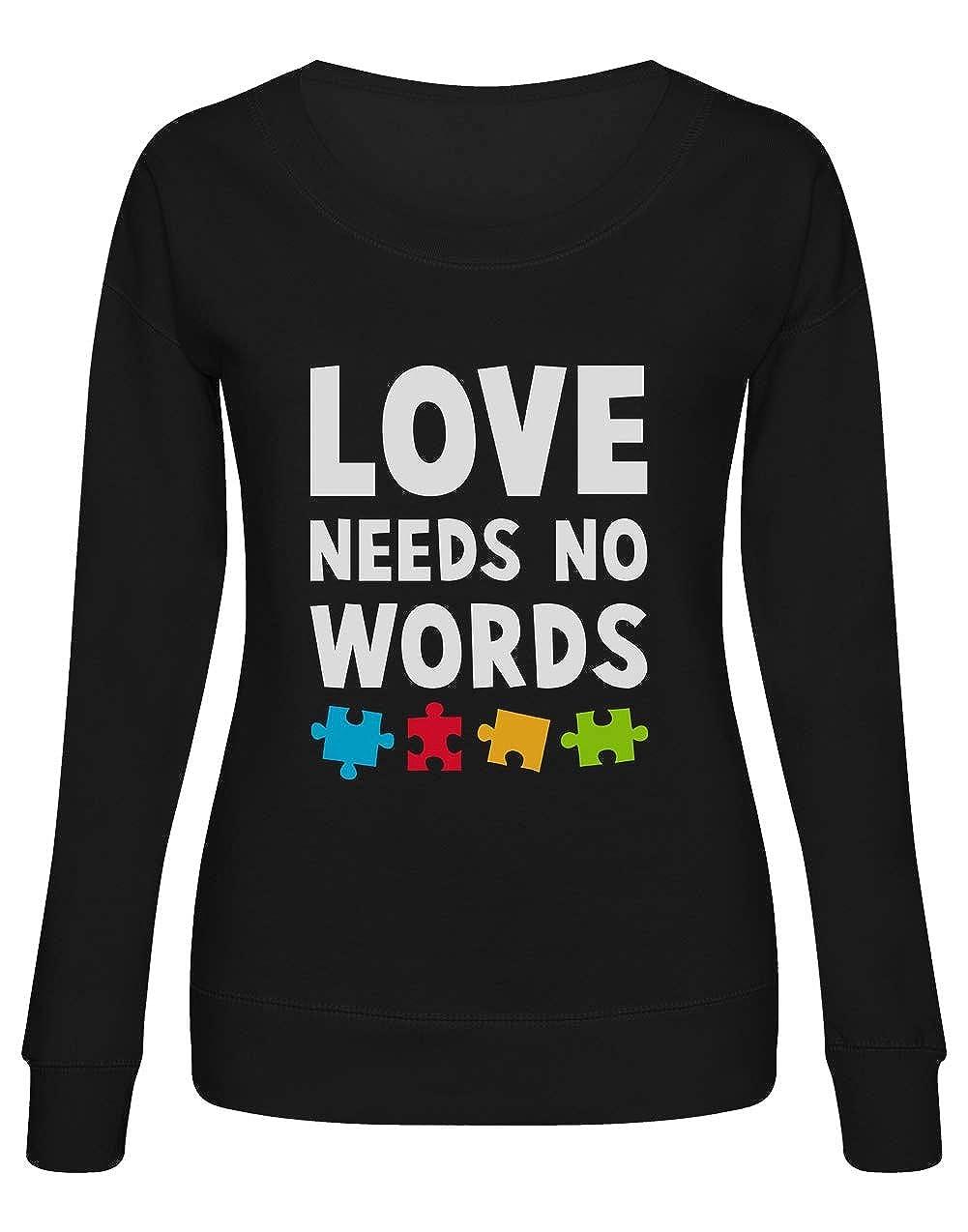 Green Turtle Sudadera Mujer Concientizacion Autismo Love Needs No Words