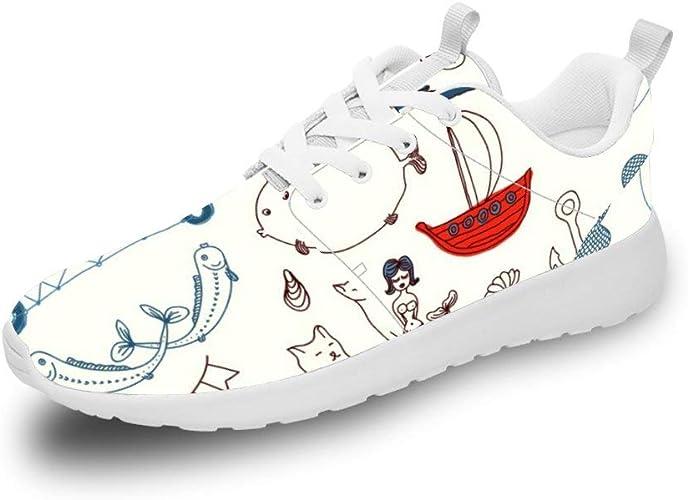 Mesllings Zapatillas de Running Unisex con diseño de ícono Marino y Dibujos Animados de Animales, Ligeras, para Deportes al Aire Libre: Amazon.es: Zapatos y complementos
