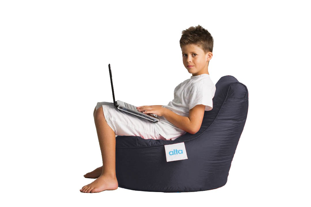 """Alta Kiddo Bean Bag Lounge Chair for Young Kids/Children. (COVER ONLY) Made Stain and Water Resistant for Indoor and Outdoor Use. 17.71"""" x 21.65"""" Black"""