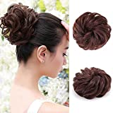 100% Human Hair Scrunchies (Reddish Brown) Curly Messy Hair Bun Extensions Wedding Hair Pieces for Women Kids Hair Updo Donut Chignons