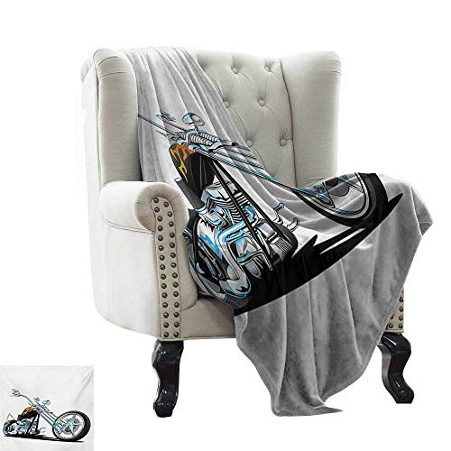 """Weighted Blanket for Kids Manly,American Chopper Motorcycle Competitions Tough Wild Cool Sport,Charcoal Grey White Pale Blue Winter Luxury Plush Microfiber Fabric 30""""x50"""""""