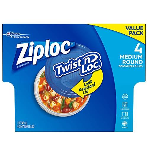 Ziploc Twist 'n Loc Container, Medium, Round, 4 ct (Pack of 2)