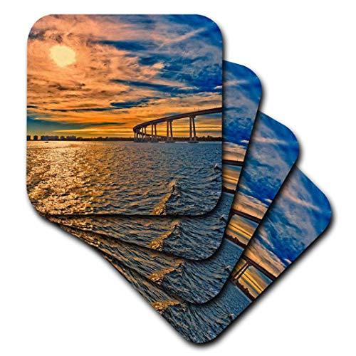 3D Rose USA - Ca - San Diego-Coronado Bay Bridge Soft Coasters Multicolor