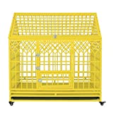 "Image of SMONTER 48"" Heavy Duty Strong Metal Dog Cage Pet Kennel Crate Playpen with Wheels, Y Shape, Yellow"