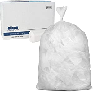 "Plasticplace 55-60 gallon Trash Bags │ 12 Microns │ Clear High Density Garbage Can Liners │ 36"" x 60"" (200Count)"