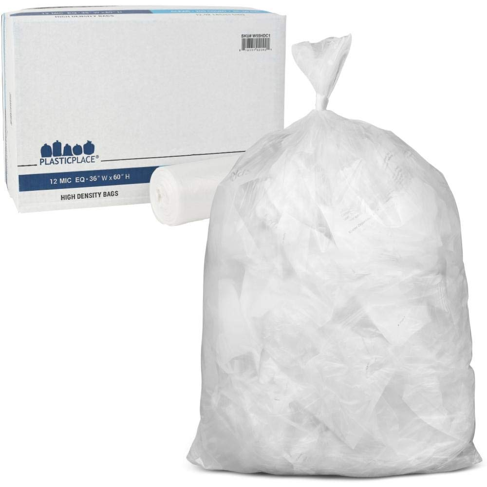 Plasticplace 55-60 gallon Trash Bags │ 12 Microns │ Clear High Density Garbage Can Liners │ 36'' x 60'' (200Count) by Plasticplace