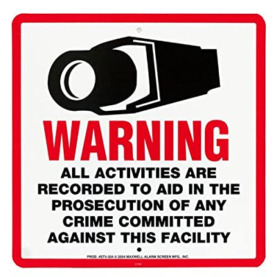 GW Security IncGWLA08GW 10 x 10 Inches Security New Outdoor Waterproof Warning Surveillance Video Sign, White
