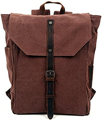1904589ac072 Travel Log Nova Backpack Genuine Canvas and Leather Bag (Brown ...