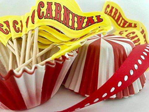 24 Carnival Cupcake Flag Banner Birthday Picks- 24 Baking Party Cups-3 Yards Red Satin Ribbon Cake Decoration