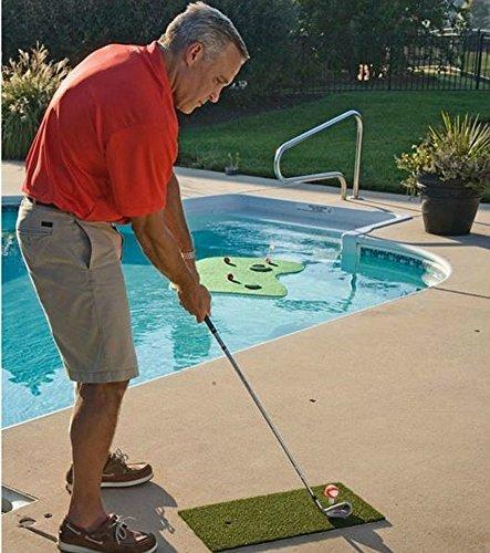 Golf Practice Mat Portable Putting Green Chipping Hitting Target Backyard Swimming Pool Float ()