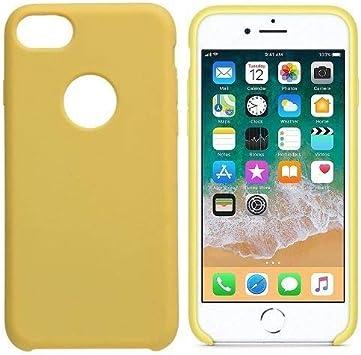 CABLEPELADO Funda Silicona iPhone Agujero Logo Textura Suave (iPhone 7, Amarillo): Amazon.es: Electrónica