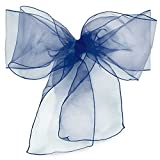 Elina Home Pack of 100 Organza Net Chair Cover Bow Sash Wedding Banquet Decor Coral (100, Navy Blue)