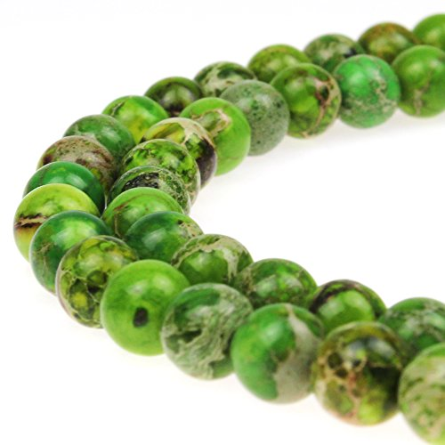 Sediment Sea Jasper (JarTc Natural Stone 6 Colors Sea Sediment Imperial Jasper Round Loose Beads for jewelry Making (10mm, Fruit green))