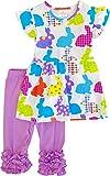 Girls Easter Bunny Outfit Set Flutter Sleeves Ruffles Capri Set Lavender 18-24 Months
