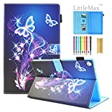 Kindle Fire HD 8 Case,LittleMax PU Leather Case Flip Stand Protective Auto Wake/Sleep Cover for Amazon Kindle Fire HD 8 7th Gen & 6th Gen with Free Stylus - 05 Purple Butterfly