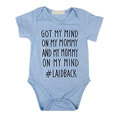 IU Newborn Baby GOT My Mind ON My Mommy Funny Bodysuits Rompers Outfits, Short Sleeve