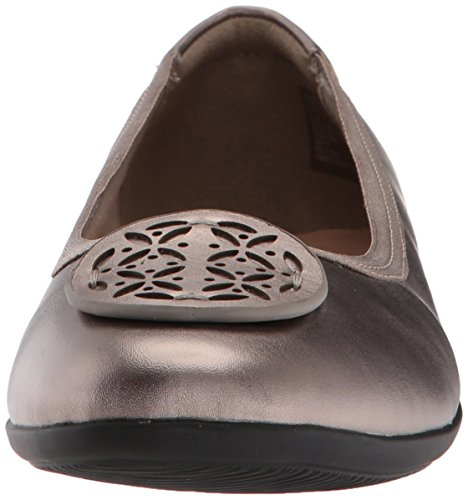 CLARKS Womens Gracelin Lola Ballet Flat Pewter Metlaiic Leather N5rDaP