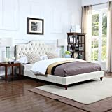 Classic Ivory Tufted Fabric Low Profile Bed Frame (Queen)