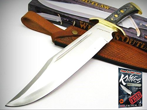 TIMBER RATTLER Hardwood Western OUTLAW Fixed Hunting BOWIE Knife + Sheath! + free eBook by ProTactical'US