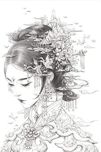 Libro de colorear chino antiestrés de belleza antigua china, color N.º 4