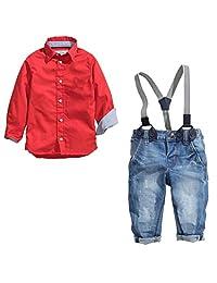 Dehutin 2017 Boys Fashion Clothing Set 2 Pieces Set Red Shirt and Suspender Jeans