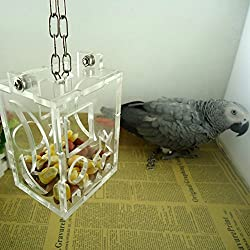 Acrylic Pet Parrots Bird Foraging Feeder Toy Canary Cockatiel Treats