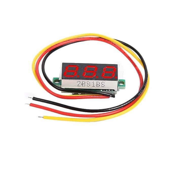 Asiproper - Tensiómetro LED de 0,28 Pulgadas, DC 0-100 V, 3 Hilos ...