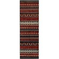 Superior Modern Twilight Collection Area Rug, 8mm Pile Height with Jute Backing,  Contemporary Bohemian Stripe Pattern, Anti-Static, Water-Repellent Rugs, 27 x 8 Runner, Maroon