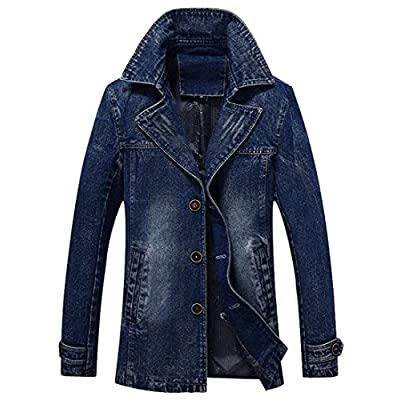 Cheap Oberora-Men Casual Lapel Single Breasted Denim Jean Jacket Blazer Trench Coat Outerwear free shipping