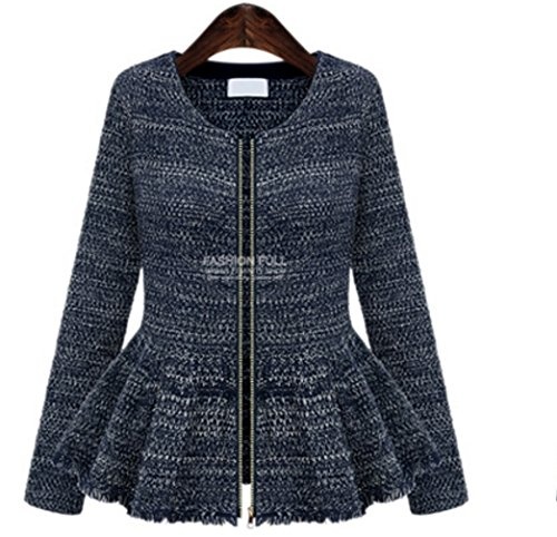 Women's Tops Slim Fashion Spring Autumn Jacket Coat Oversize Long Sleeve Jackets (Belted Tweed Belt)