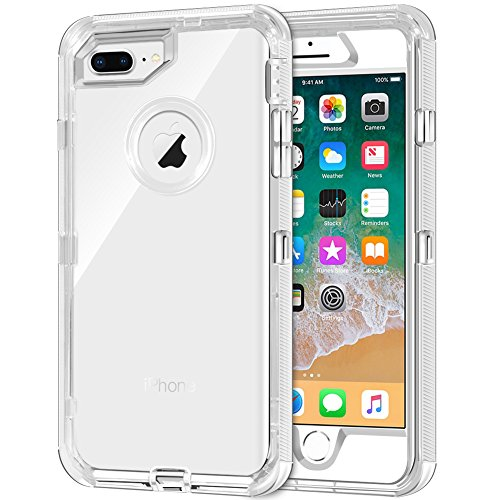 iPhone 8 Plus Case, iPhone 7 Plus Case, Anuck 3 in 1 Hybrid Heavy Duty Defender Case [Shock Absorption] Shockproof Clear Protective Hard Shell Soft TPU Cover for iPhone 7 Plus/8 Plus 5.5