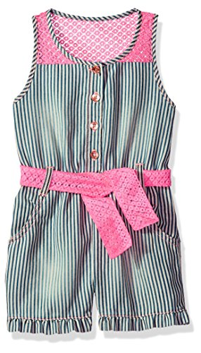 Limited Too Girls' Toddler Romper, Mini Stripe Pink lace Multi Print, 2T
