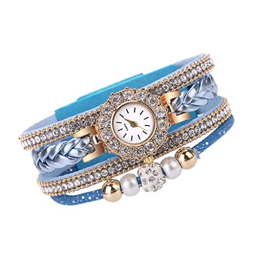 Muranba 2019 ! Women Watches Fashion Vintage Weave Wrap Quartz Wrist Watch Bracelet for Ladies (Sky Blue)