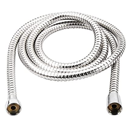 GadgetpoolUK Cabeza de ducha cuarto de baño manguera flexible de tubo, acero inoxidable, Metálico
