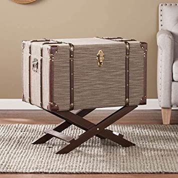 Southern Enterprises Devane Linen Trunk File Storage, Beige Chocolate Brown