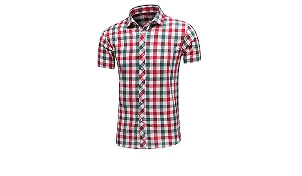 Camisa De Leñador Camisa De Manga Corta con Unico Solapa De Moda Clásica para Hombre Camisa De Malla Casual De Verano con Estampado Informal En Color Rojo Tops para Hombre: Amazon.es: Ropa