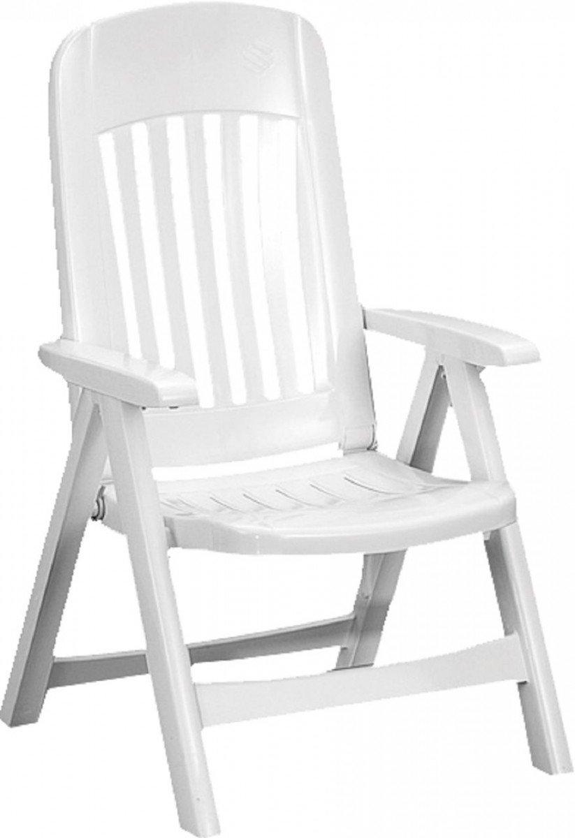 Dreams4Home Klappsessel 'Cosa' - Sessel, Stuhl ,Klappstuhl, Gartenstuhl, Balkonstuhl, klappbar, verstellbar, platzsparend, Kunststoff, witterungsbeständig, UV-stabil, Klappsicherung, Balkonmöbel, Gartenmöbel, Terrasse, Outdoor, in weiß
