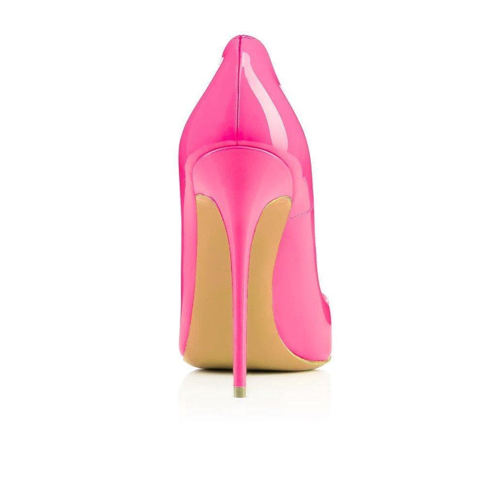 Emiki Damen Einfarbig Spitz Schuhe Dünne Lackleder Fersen Pumps Elegante Lackleder Dünne Stilettos Extrem Hoher Absatz Für Arbeit Party Pink Lackleder 1ae5a8