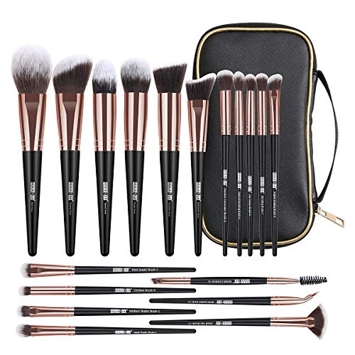 Makeup Brushes, 18 Pcs Professional Premium Synthetic Makeup Brush Set with Case, Foundation Kabuki Eye Travel Make up Brushes units (Black Gold)