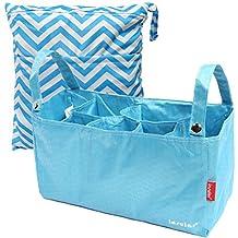 KF Baby Diaper Bag Insert Stroller Organizer, Blue + Wet Dry Bag Value Combo