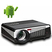 Lcd Led Video Projector with 4500 Luminous Efficiency Lumens Built in Smart Android 4.4 Wifi Bluetooth Support Full Hd 1080p for 3d Home Theater Proyector Beamer Projetor