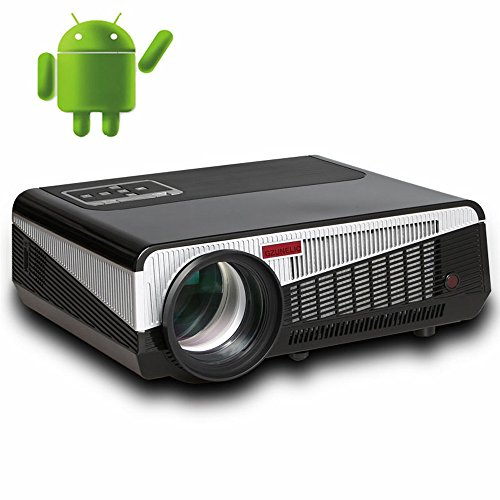 Gzunelic 4500 lumens Android WiFi 1080p Video Projector LCD LED Full HD Theater Proyector with Bluetooth Wireless Mirror to Smart Phone by Airplay or Miracast Ideal for Home