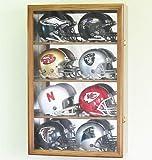 football autograph case - 8 Mini Helmet Display Case Cabinet Holder Rack w/ UV Protection- Lockable with Mirror Back, Walnut