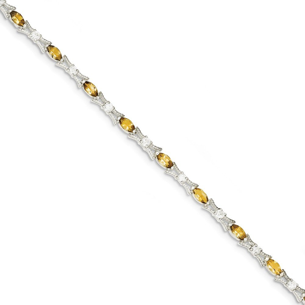 Sterling Silver Citrine Bracelet - 7.5 Inch - Box Clasp - JewelryWeb