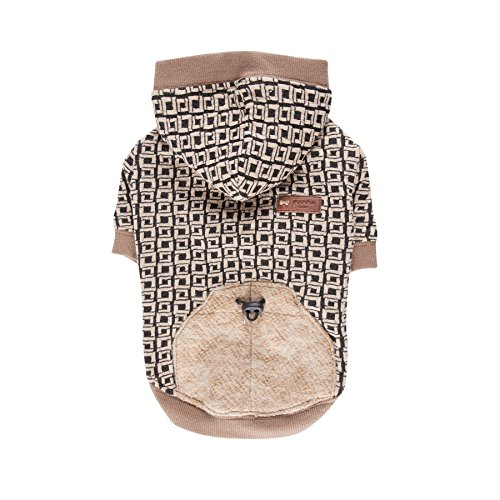 Puppia Authentic Damier Hoodie, Small, Beige by Puppia