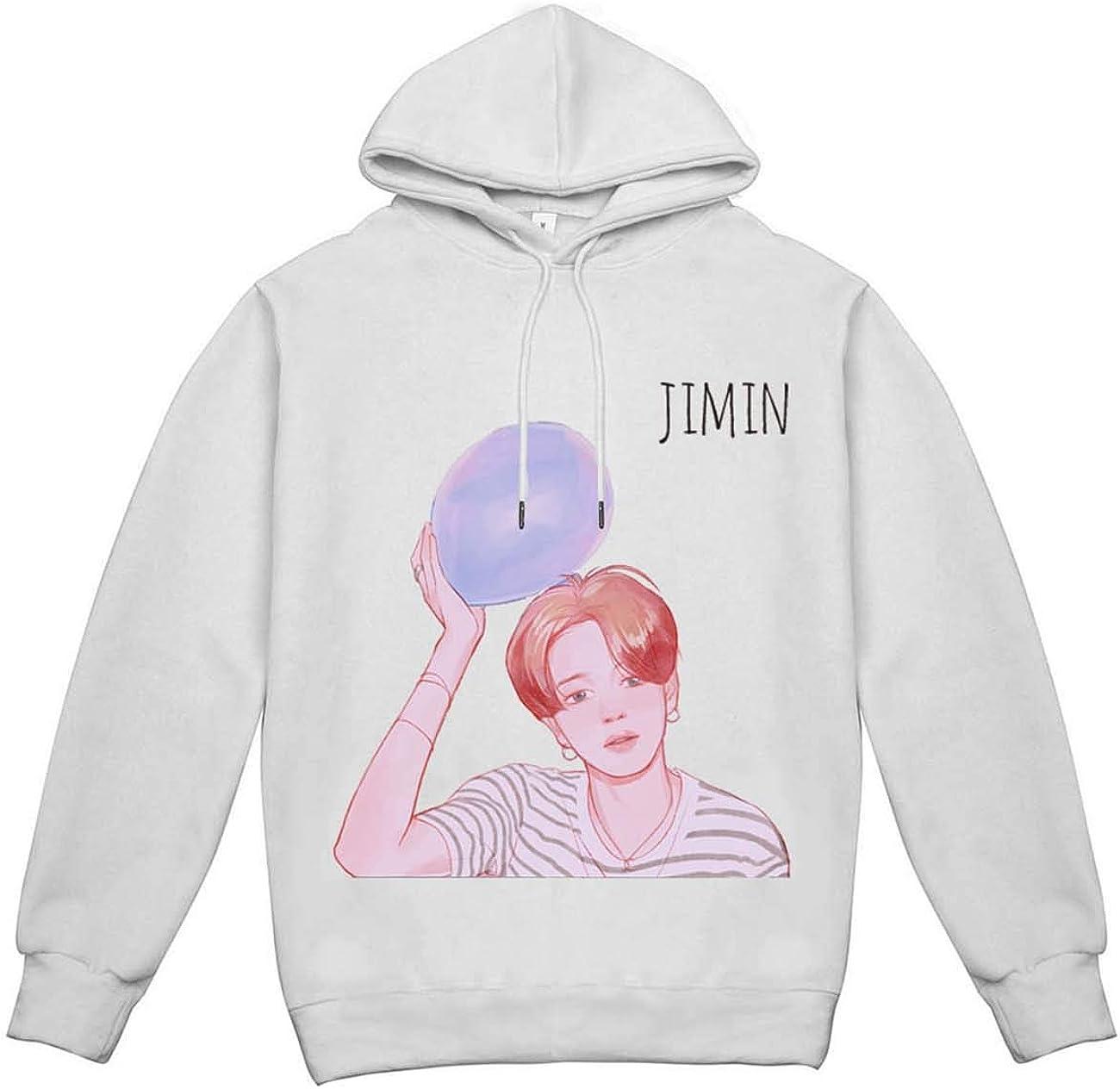 ZIGJOY BTS Hoodie Cartoon Portrait Hooded Sweatshirt Long Sleeve Unisex Pullover Jungkook Jimin JIin Suga V for Fans