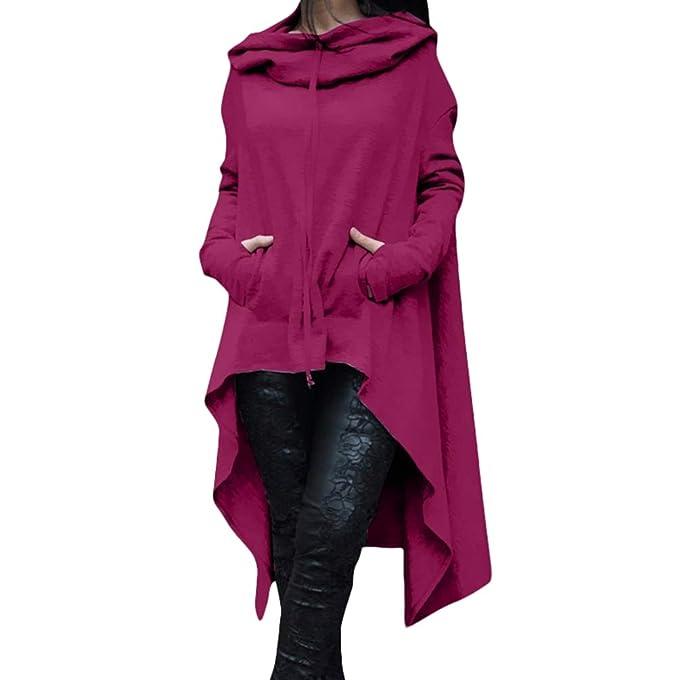 Lvguang Sudadera Vestido Largas Mujer Sudaderas con Capucha Asimétrico Ocasionales Flojas Pullover Hoodie de Manga Larga