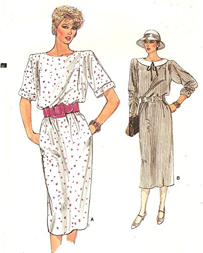 Vogue vintage 1980s sewing pattern 9281 straight dress - Size 12-14-16