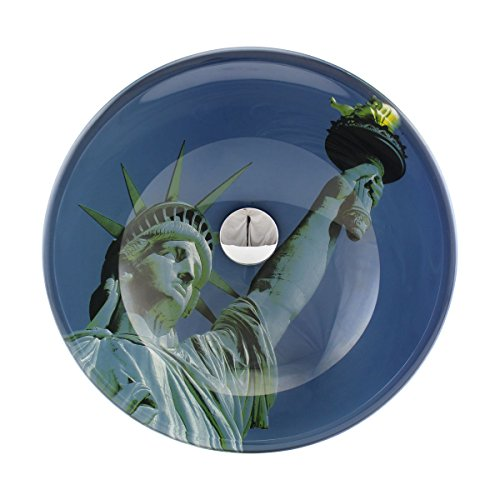 Liberty Tempered Glass Vessel Sink With Drain, Blue Double-Layer Round Bowl ()