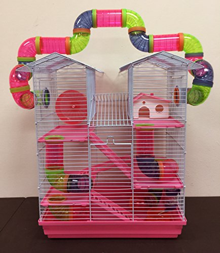 Hamster Gerbil Mouse Cage - 5 Floor Large Twin Tower Syrian Hamster Rodent Gerbil Mouse Mice Rat Cage with Crossing Tube Tunnel (Pink, with Crossing Tube)